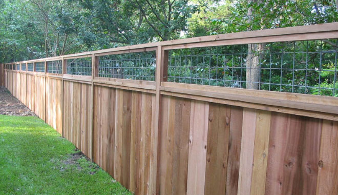 6 foot cedar fence with cattle panel insert