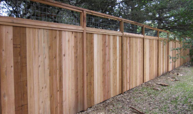 8 ft custom wood cedar fence with cattle panel insert on top
