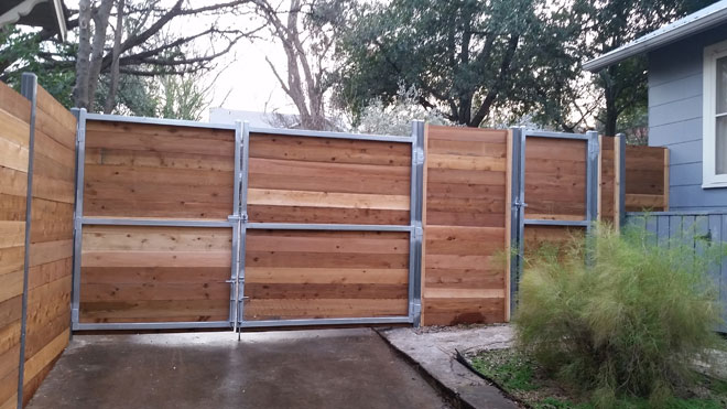 cedar horizontal style fence with steel frame gates